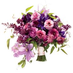 Walk down the aisle in style with a purple and pink bouquet that's as bold as it is beautiful.  Wedding bouquet of ranunculus, lilacs, and clematises,