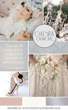 Gatsby glamour wedding inspiration board, designed by @Pocketful of Dreams // @pocketfuldreams for Love My Dress.