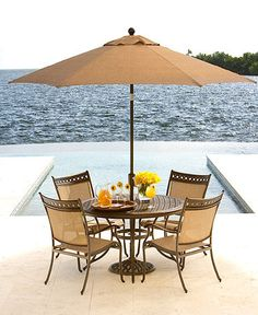 "Macys: Vintage Outdoor Patio Furniture, 5 Piece Set (48"" Round Dining Table, 4 Dining Chairs)"