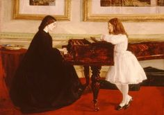 At the Piano James Abbott McNeill Whistler (American, Oil on canvas. Taft Museum of Art. The 'Piano Picture,' so called by Whistler, is a study of his half-sister and niece. James Abbott Mcneill Whistler, Johannes Vermeer, Romaine Brooks, Charles Gleyre, Cincinnati, Taft Museum, Piano Art, Piano Music, The Piano