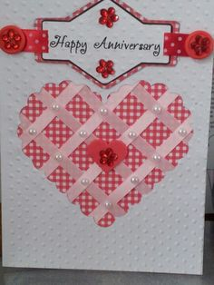 Happy Anniversary Card White and Red