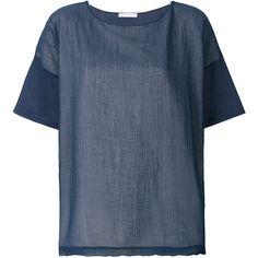 Fabiana Filippi plain T-shirt (36.005 RUB) ❤ liked on Polyvore featuring tops, t-shirts, blue, blue t shirt, blue top and blue tee