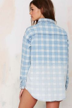 So Faded Ombré Denim Button-Up - Shirts + Blouses