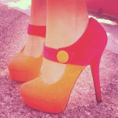TWO TONE BUTTON MARY JANE HEELS in DivaLicious Boutique