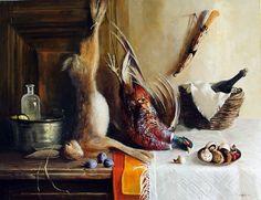 'Still life with Hare and Pheasant' an oil on canvas by Bulgarian artist Snejana Slavova. Painting Still Life, Oil On Canvas, Projects To Try, Artist, Bulgarian, Pheasant, Pictures, Hare, Hunting