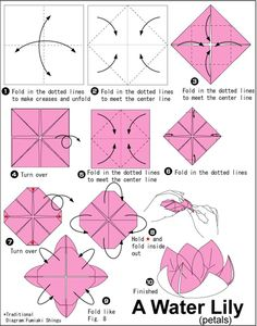How to draw a lily step by step easy how to make an origami lily flower . how to draw a lily step by step easy Easy Money Origami, Easy Origami Rose, Origami Money Flowers, Paper Origami Flowers, Origami Flowers Tutorial, Origami Lotus Flower, Kids Origami, Paper Cranes, Origami Folding