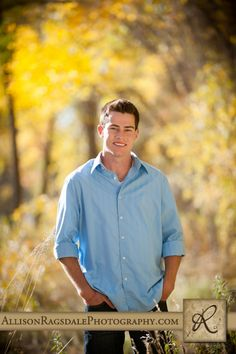 Fall Boy Senior Photos - shallow depth and space between him and the background