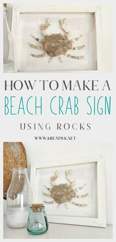 If you are loving nautical decor and want to add a fun beach wall decor to your home then find out here how to make a beach crab sign using rocks! Summer Diy, Summer Crafts, Rock Crafts, Diy And Crafts, Beach Wall Decor, Driftwood Crafts, Beach Signs, Beach Crafts, Beach Fun