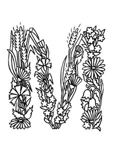 m alphabet flowers learn alphabet flowers letter m coloring pages - Letter M Colouring Pages