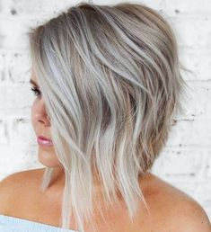 Top 60 Flattering Hairstyles for Round Faces - Layered Angled Blonde Balayage B. - - Top 60 Flattering Hairstyles for Round Faces - Layered Angled Blonde Balayage Bob - Hairstyles For Fat Faces, Plus Size Hairstyles, Modern Hairstyles, Easy Hairstyles, Short Hair Cuts For Women, Short Hair Styles, Visage Plus Mince, Blonde Hair Cuts Medium, Haircuts For Round Face Shape