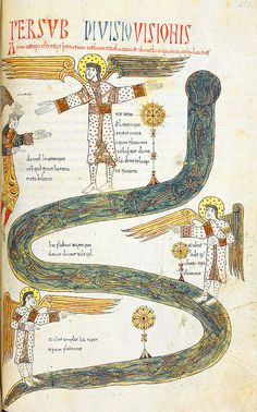"""""""Daniels vision of the three angels"""", Jerome, Commentary on Daniel, in """"Beatus de Liebana, Silos Apocalypse"""", London British Library, Northern Spain, c.1100"""