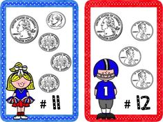Money Touchdown - Counting Change to $1 - game cards and even book marks to give the kids as a prize