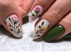 I love the retro flowers on this mani. Trendy Nail Art, Stylish Nails, Super Cute Nails, Pretty Nails, Get Nails, Hair And Nails, Nail Art Techniques, Nail Time, Painted Nail Art