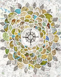 Wanderbloom  map print wanderlust poster compass rose by Jenndalyn, $25.00