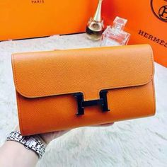 Love-Bags   Hermes Constance Clutch Wallet Brand New Orange in... Hermes ccf12f5b1e721