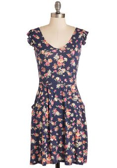 Always Appropriate Dress - Knit, Sundress, Mid-length, Multi, Floral, Print, Ruffles, Casual, A-line, Cap Sleeves, Summer, Pockets, Scoop