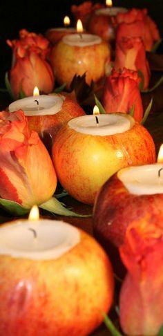 bougeoir idee avec pomme rouge, theme mariage originale avec pommes rouges