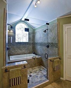 Bathtub inside shower