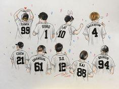 EXO <credits to owner> Exo Kokobop, Exo 12, Chanyeol, Kyungsoo, Exo Korean, Korean Boy, Exo Stickers, Preppy Stickers, Exo Cartoon