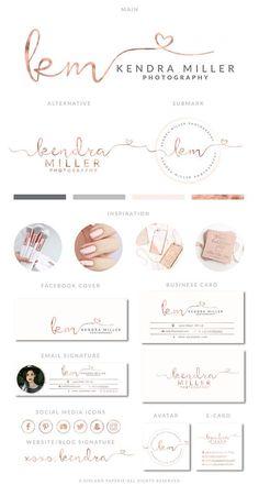 Heart Rose Gold Branding Kit Interior Logo Premade