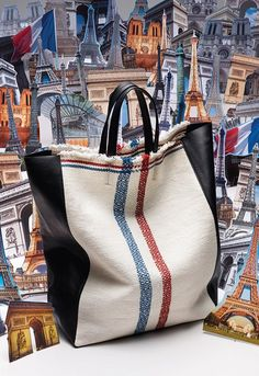 CELINE cabas limited edition linen leather tote bag very rare Sac Vanessa Bruno, Sac Week End, Striped Bags, Jute Bags, Linen Bag, Fabric Bags, Big Bags, Summer Bags, Handmade Bags