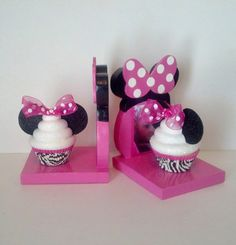 Minnie Mouse Inspired Bookends With Fake Cupcakes In Zebra Liners Photo Insert Girls Room