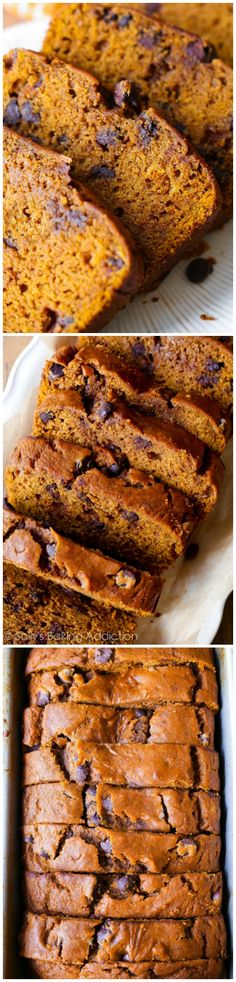 This recipe makes one heck of a super-moist pumpkin bread! This fall favorite is packed with sweet cinnamon spice, chocolate chips, and tons of pumpkin flavor. Moist Pumpkin Bread, Pumpkin Chocolate Chip Bread, Pumpkin Loaf, Pumpkin Spice, Dessert Bread, Dessert Recipes, Desserts, Cinnamon Spice, Sallys Baking Addiction