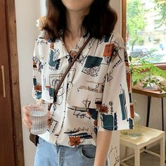 Popular new work Popular short-sleeved slender show Comfortable Korean style loose print shirt - Korean Outfits, Retro Outfits, Cute Casual Outfits, Vintage Outfits, Looks Style, My Style, Look Boho, Mode Vintage, Outfit Goals