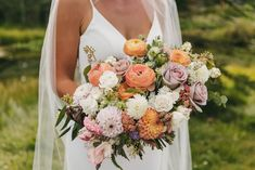 This bouquet was designed for an early September wedding in #canmore Alberta! The bride loves #ranunculus so we included peach ranunculus along with dahlis, snowberry, yarrow and other seasonal blooms. 📷 @starrmercerphotography #canmorewedding #septemberwedding #summerweddingflowers #fallweddingflowers #dahliabouquet #dahliaseason #fallweddingcolors #summerweddings #calgary #calgaryflowers #flowersbyjanie Dahlia Wedding Bouquets, Dahlia Bouquet, White Wedding Flowers, Peach Flowers, Fall Wedding Colors, Bridal Bouquets, Floral Wedding, Wedding Dreams, Dream Wedding