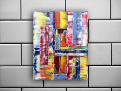 """""""Shutters"""" - FREE Shipping to the USA - Original Highly Textured PMS Abstract Oil Painting On Canvas - 16"""" x 20"""""""