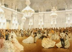 A 19th century painting of the Ballroom in the Winter Palace, St. Petersburg, Russia. Tsar Alexander II can be seen sitting in the background.