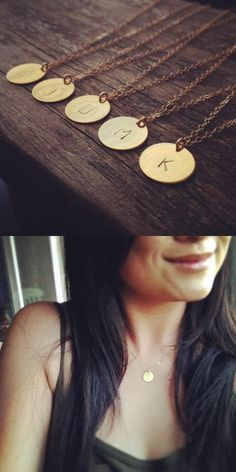 2016 Initial necklace personalized Discs Charm Custom Letter friendship Jewelry Gift Golden Round Plated Necklace Pendants New