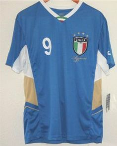 "World Cup Soccer Team ITALIA (Italy) Adult Fashion Soccer Jersey SIZE SMALL by World Cup Soccer Jersey. $79.96. World Cup Soccer Team ITALIA (Italy) Adult Fashion Soccer Jersey SIZE SMALL  Blue jersey with Number ""9"" and ""ITALIA"" printed on the back. Jersey Front has ITALIA seal/logo EMBROIDERED along with smalll number 9 on right side with ""Azzuri"" embroidered beneath the logo.   LEAD AND PATHALATE SAFE.    Fitting: Athletic Fit   Material: 100 % Polyester   Care ..."
