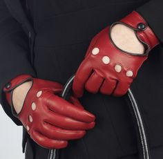 Jules - Contrast Leather Driving Glove - Red