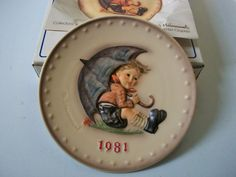 Hummel 1981 Decorative Plate, Goebel 11th Edition Annual Collectible Plate, Umbrella Boy, West Germany