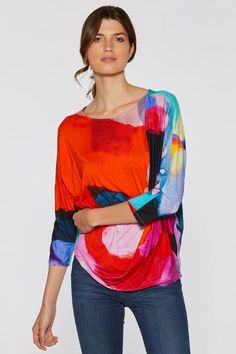 I Know You Know Drape Top by Claire Desjardins. #clairedesjardins #clairedesjardinsart #ClaireDesjardinsApparel #DesignerJacket #JeanJacket #cami #WomensApparel #WearableArt #designerclothing #apparel #designerapparel #artandfashion #fashionandclothing #artonclothing #abstractart #abstractpainting #designerclothes #womensapparel #Tunic #Dress #Jacket #MotoJacket #WomensTop