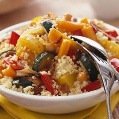 Discover our easy and fast recipe of Vegetarian Couscous on Actual Cuisine! Veggie Recipes, Vegetarian Recipes, Dinner Recipes, Cooking Recipes, Healthy Recipes, Vegetarian Couscous Recipe, Couscous Healthy, Couscous Salat, Quinoa