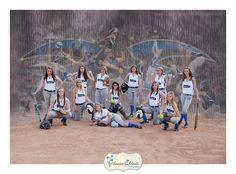 Cute panaramic softball pose
