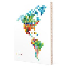 Pixel Map 'Colors of the Americas' Bamboo Wall Art