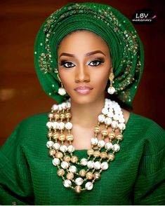 Fatima ✨ @lbvmakeovers / Aso Oke & beads @hrmsignaturebeads #BellaNaijaWeddings