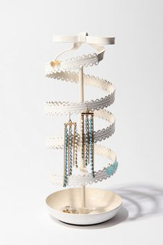 spinning ribbon jewelry stand  #jewelry stand #white #cute