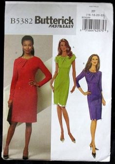 Butterick dress pattern B5382, fast & easy, sizes 16, 18, 20, 22, empire waist, fitted, $6.00 via Etsy by FindersofKeepers,  11734,