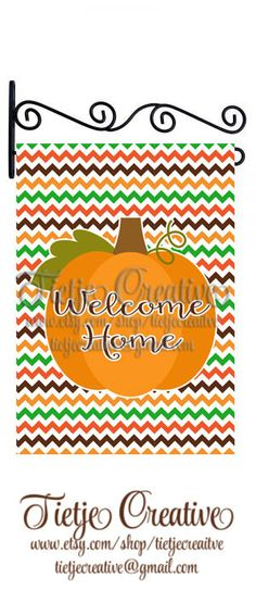 Thanksgiving Flag, Welcome, Welcome Home, Garden Flag, by TietjeCreative on Etsy