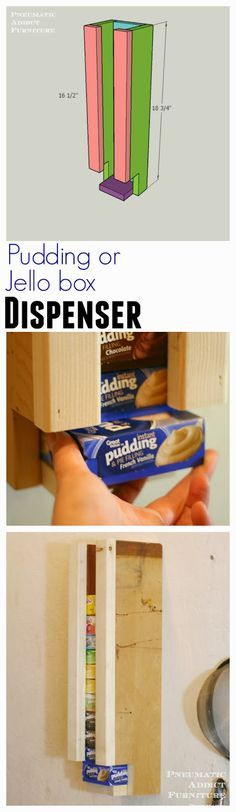 Building plans to make a simple jello or pudding box dispenser. Great way to organize your pantry.