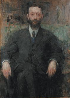 Boznanska Olga (1865-1940), Portrait d homme, 1918, Huile sur carton marouflée sur toile, 100 x 72,5 cm