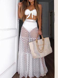 Jolie Lingerie, Beach Skirt, Long Maxi Skirts, Tutu Skirts, White Maxi Dresses, Dress Brands, Beachwear, Summer Outfits, Beach Outfits