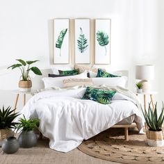 "389 Likes, 23 Comments - Pillow Talk Australia (@pillowtalkaustralia) on Instagram: ""Tropical Bliss! 🌴 🌴 A crisp white quilt cover like the Sorrento Waffle paired with the vibrant…"""