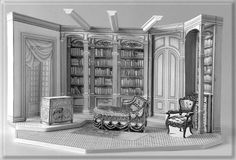 Pygmalion by Shaw - Set Design by Richard Finkelstein, Stage Designer. Basic white model for the central portion of Higgins' study.
