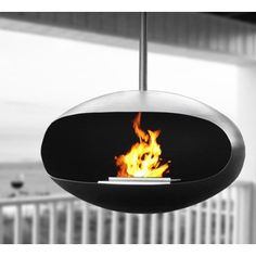 Ventless fireplace; Hangs from the ceiling, burns on clean ethanol, no ashes, no mess, pure extacy!