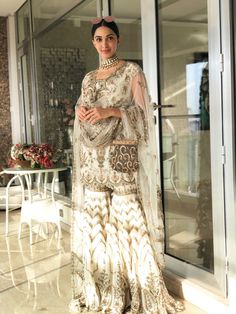 Pinterest: @Kismat Eid Dresses, Pakistani Dresses, Indian Dresses, Indian Outfits, Sharara Designs, Sari Blouse Designs, Kurti Designs Party Wear, Pakistani Designer Suits, Indian Designer Wear